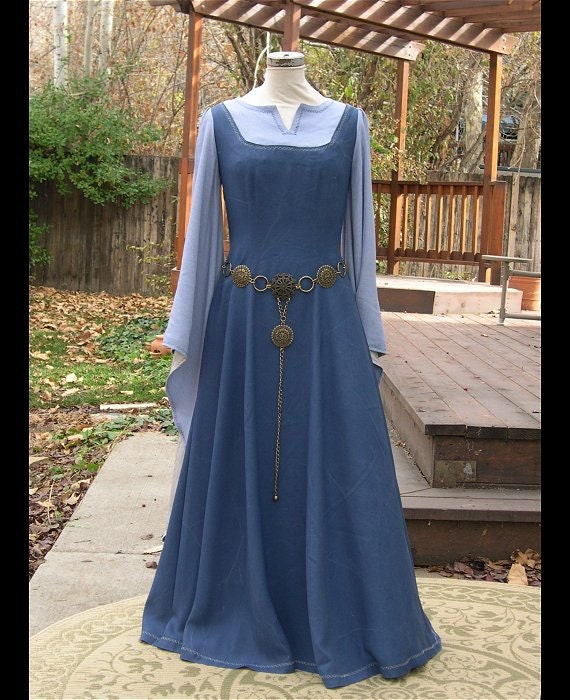 Medieval Renaissance Light Blue And White Gown Dress: Blue Periwinkle Medieval Fantasy Elf Gown On Hold For