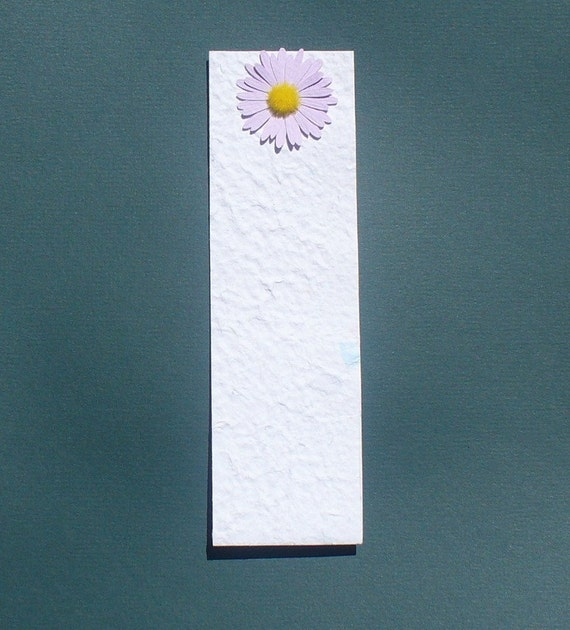 White Handmade Paper Bookmark With Flower