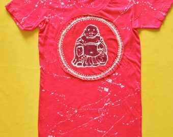 Buddha meditation applique t shirt hand dyed red white splatter tops & tees Womens Clothing gift for her, batik clothing, Yoga gifts