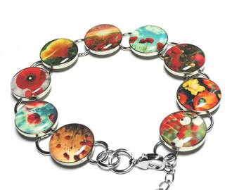Poppy Flower Bracelet, Red Poppies, Handmade Jewelry, Handmade Bracelet, Poppies, Red Flowers, Resin Jewelry, Gift for Her, Resin Bracelet