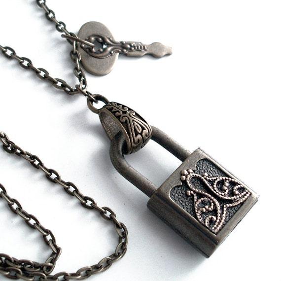 Old Secrets Padlock and Key - Steampunk Necklace - Handmade Lock Jewelry