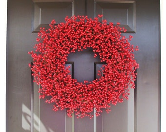 Berry Wreath, Valentine's Day Wreath, Year Round Wreath, Holiday Decor, Red Wreath, Wedding Wreath 22 inch,