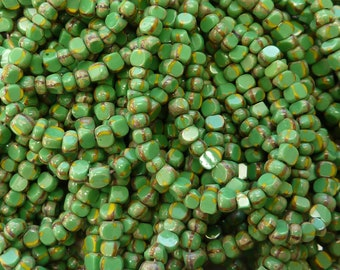 6/0 3 Cut Opaque Green Yellow Stripe Picasso Firepolished Czech Glass Seed Bead Strand (DW150)