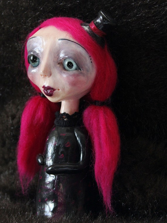 Lulu - Ooak creepy cute little girl gothic art doll