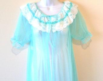 Romantic Pegnoir Robe - Blue Aqua - Bride Bridal - 60s - Mad Men - Sheer - Turquoise - Floaty - White Lace - Trousseau - Recycled - UNIQUE
