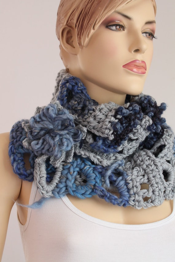 Crochet Chunky Scarf - Capelet  / Neck Warmer /  Freeform