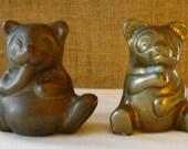 2 VINTAGE BRASS BEARS Brass Bear Figurines 2 Brass Bear Paper Weights 2 Baby Bears Honey Pot Bears Cute Bears Brass Duo Pair of Bears