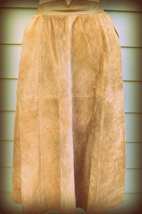 1980s high waist suede full midi skirt