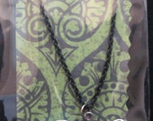 1990s BAT NECKLACE Silver & Black Color 16 inch Chain New