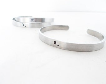 Custom hand stamped jewelry, bangle cuff bracelet - initial Bracelet, personalized jewelry - friend gift - jewelry sale, handmade