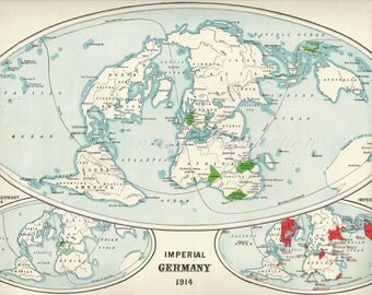 1922 LARGE GERMAN EMPIRE World Map 1914 Map vintage world map deco map wall map world
