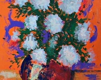 "Floral original expressionistic painting of white flowers red vase orange background acrylic on paper 19.5 "" x 25.5"""