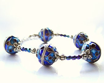 Deep blue cloisonne bracelet, enamel beadwork bracelet, antique look royal blue bracelet, cloisonne jewelry