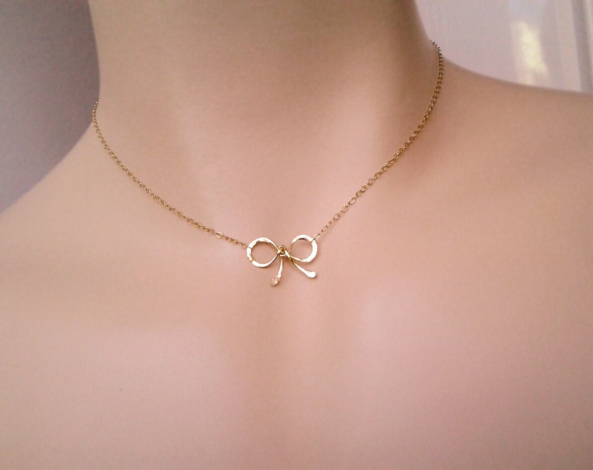 Bow Choker Necklace Love Knot Tiny Sweet 16 Gift Bow