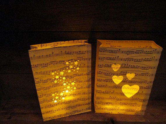 10 Large Vintage Sheet Music Luminaries, Great for Weddings & Parties, Music Decorations, Luminary Bags, Custom Made