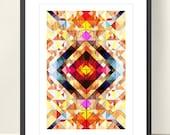 Geometric Art Tangram Poster. Abstract Wall Decor. Explosion of Colors - Modern Art Print A3, Geometric Wall Art Tangram, Etsy UK