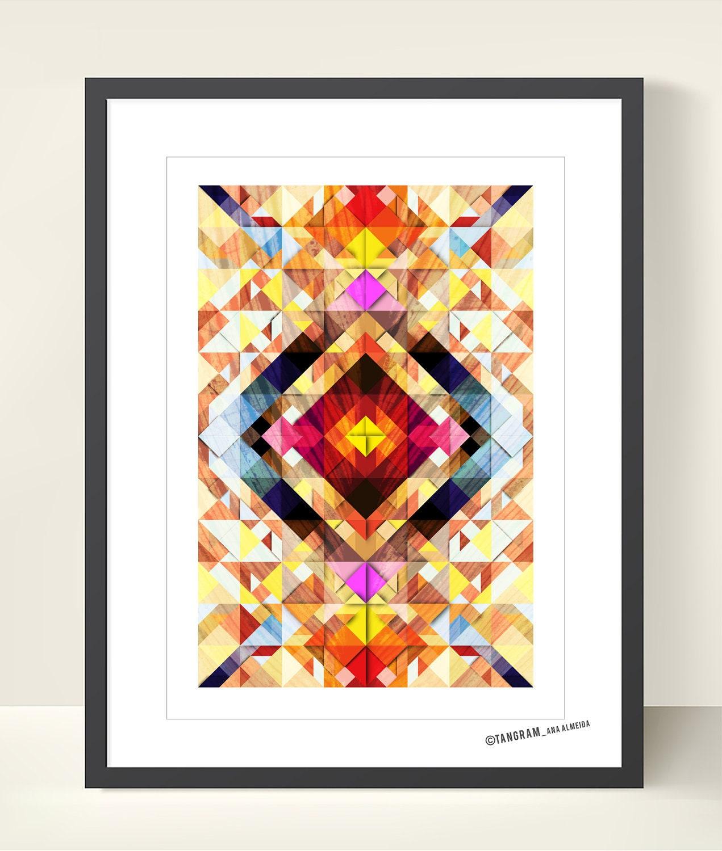 Geometric Art Tangram Poster. Abstract Wall Decor. Explosion Of Colors    Modern Art Print