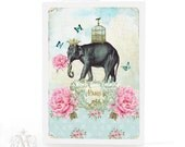 Paris, Elephant, card, birthday card, vintage rose wallpaper, pink flowers, butterflies, bird cage, gold crown, Elephant card, blank inside
