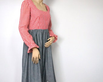Vintage Dress Vintage Granny Dress Maxi Dress Gingham Denim Empire Waisted Hippie Country Costume Dress Red Checked Ruffle Size Small