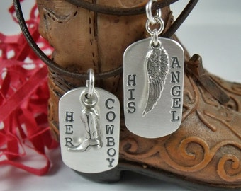 Her Cowboy His Angel Sterling Silver MINI Dog Tag Set - His and Her Stamped Silver Necklace Set - Couples Gift - Valentines Day
