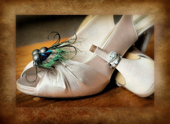 Shoe Clips Set Gorgeous Peacock. Diva Winter Holiday, Couture Preppy Bold Metallic, Statement Stunning Teal Green Aqua, Heel Lover Clip Gift