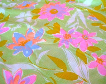 """Vintage Fabric - Flowers - Bright Pink & Green - By The Yard x 44""""W - 1960's - Retro - Sewing Material - Craft Supply - Yardage"""