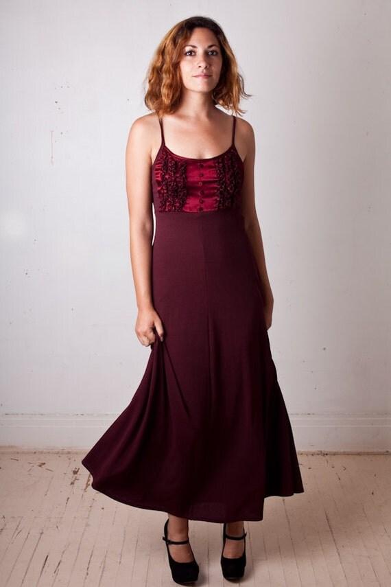 Cyber Sale, 90s Empire Waist Dress, Early 90s Wine red purple merlot floor length maxidress, tuxedo ruffle, size Small, Clearance Monday