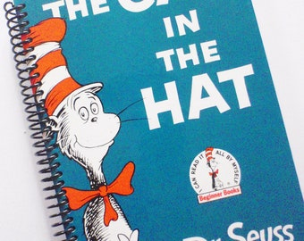Dr. SEUSS Notebook or Journall The CAT In The HAT  Recycled Upcycled Book