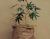 Wire Cannabis Sativa Tree Of Life Sculpture on a Sack - Original Art