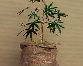 Wire Cannabis Sativa Tree Of Life Sculpture on a Sack - Original Art - Made To Order
