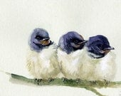 Little swallows giclee print of original watercolor, birds print