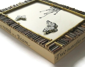 "HANDMADE PRINTMAKING, Two Butterflies, linoleum print collage mounted on wood 5""x7""x1"""