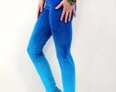 Handmade Blue Yoga Leggings - Ombre Athletic Leggings - Yoga