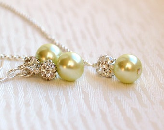 Light Green Bridesmaid Jewelry Set Of Earrings Necklace Green Rhinestone Earrings Necklace Green Glass Pearl Earrings Wedding Jewelry Gift