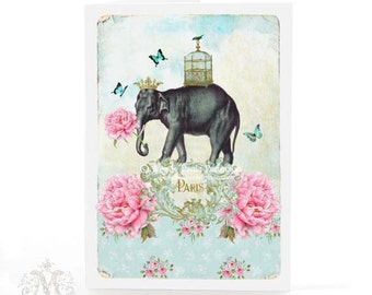 Paris, Elephant, card, for birthday, friendship, call occasion, blank inside