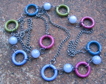 Eco-Friendly Statement Necklace - Fruit Loops - Recycled Vintage Steel Chain and Beads in Shades of Blue, Sage Green and Raspberry Red