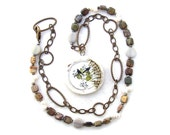 Long Pendant Necklace Two Birds Gemstone Ceramic Pearl Silhouette Nature Leaf Chain Tagua