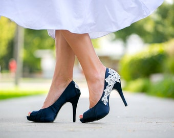 SALE. Wedding Shoes. Navy Blue Wedding Shoes/Bridal Shoes, Navy Heels, Blue Heels, Navy Wedding Heels, Shoes with Ivory Lace. US Size 9