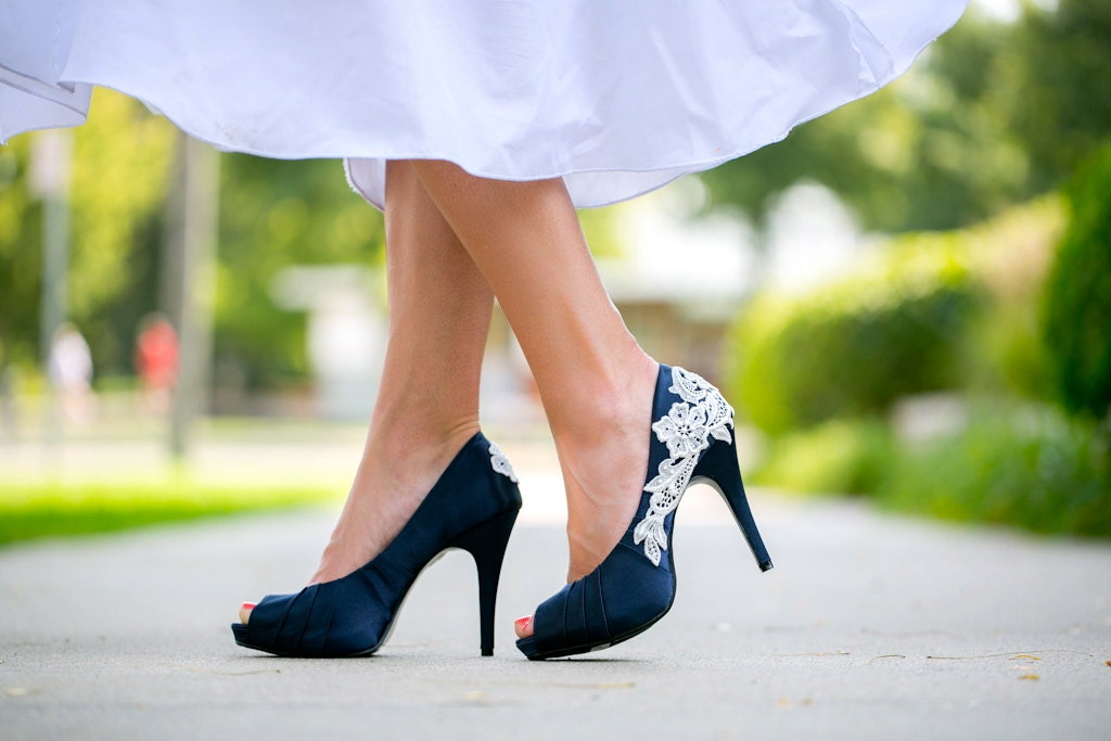 Wedding shoes navy blue wedding shoes navy heels blue for Blue shoes for wedding dress