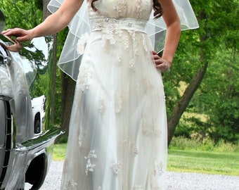 Beautiful Vintage Inspired Gatsby Wedding Gown with Charmeuse and Lace overlay Empire Waist