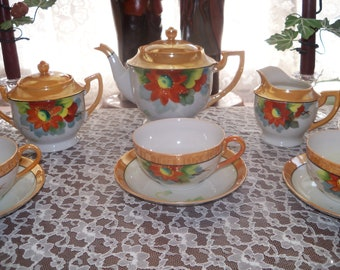 Lusterware Tea Set Noritake Service for Six  23 Complete Luncheon Red Flower Chikamarachi  1928 - 1946