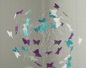 Art Mobile, Baby Girl Nursery, Mobile, Butterfly Mobiles, Teal and Purple Baby Mobile, Crib Mobiles, Baby Gift
