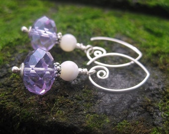 Lilac Crystal Earrings - Swarovski Crystals w Mother-of-Pearl Beads & Artisan-Made Sterling Silver Hoops / Proceeds Benefit Kids w Autism