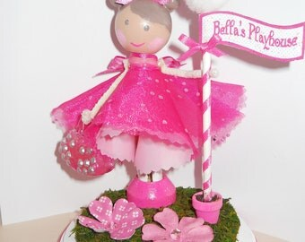 cake topper, girl , pink, with base