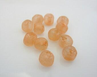 Recycled Glass Beads - 6mm - Light Orange - qty. 12