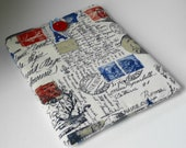 French Postcards & Birds Padded iPad Sleeve -- Vintage-Style Cotton Canvas Case
