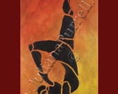 Greeting Card from Original Acrylic Painting entitled Toe To Head Silhouette - 5x7 inch - 10 CARDS