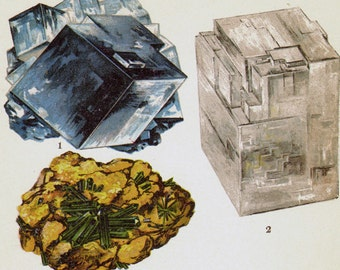 Halite Atacamite Opal Crystal Stone Mineral Vintage Lithograph Edwardian Geology Print To Frame 10