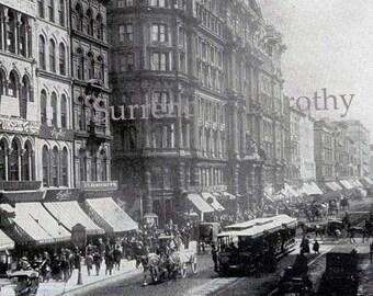 Chicago Illinois State Street USA 1890 Vintage Victorian Rotogravure Photo Illustration For Framing