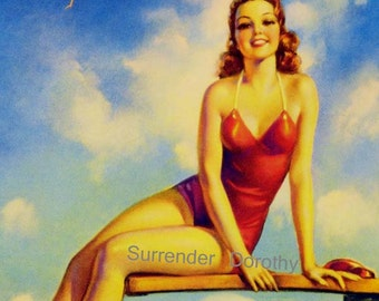 Swimsuit  Pinup Redhead Girl Jules Erbit Bombshell Poster Print To Frame 1930s